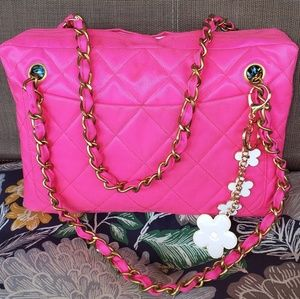 Chanel Pink Quilted Canvas Chain Handle Camera Bag